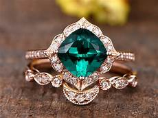 1 3ct cushion cut treated emerald engagement ring 14k