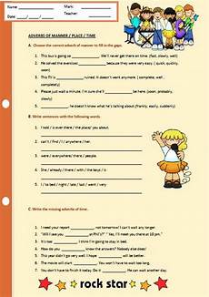 time adverbs worksheets 2909 adverbs of manner place and time worksheet