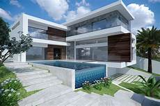 modern minimalist house exterior 3d cgtrader