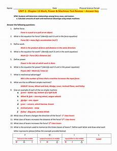 unit 3 chapter 14 work power machines test review answer