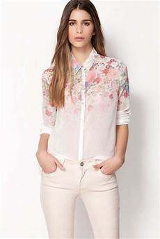 turndown collar printed dip hem blouse lovely turndown collar floral print sleeves chiffon