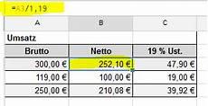 brutto netto berechnen formel bruttoeingabe automatisch netto und umsatzsteuer excel