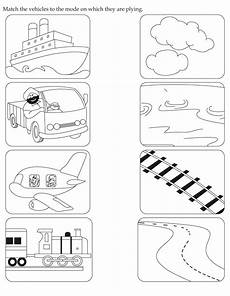 vehicles worksheets kindergarten 15164 activity worksheet match the vehicles to the mode on which they are plying from
