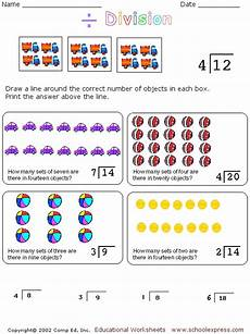 division concepts worksheet for 2nd 3rd grade lesson