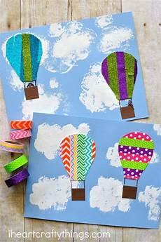 basteln sommer kinder washi air balloon craft preschool activities