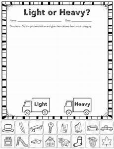 measurement worksheets for kindergarten 1349 measurement capacity free heavy and light sorting activity kindergarten science