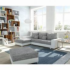 Couch Panama Hellgrau Weiss Longchair Variabel Mit Hocker