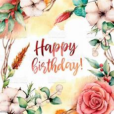 watercolor happy birthday card with flowers painted