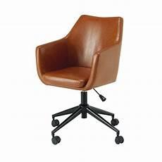 fauteuil de bureau en textile enduit marron vieilli