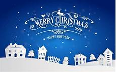merry christmas and happy new year 2019 of snowy home town with typography font message blue