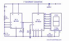 Seven 7 Segment Counter Circuit With Led Display Diagram