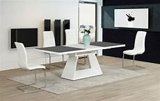 Esstisch Hochglanz Grau - high gloss glass in grey white dining table and 8 chairs
