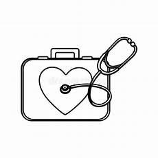 simbolo cassetta pronto soccorso stetoscopio e cassetta di pronto soccorso illustrazione di
