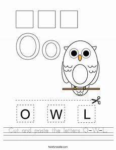 letter l worksheets cut and paste 23203 cut and paste the letters o w l worksheet twisty noodle