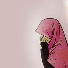 30 Gambar Kartun Wanita Berhijab Sedang Menangis