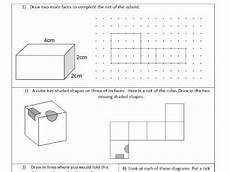 nets 3d shapes represented by 2d shapes geometry ks2 year 5 6 worksheet only shapes