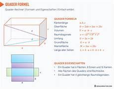 quader berechnen volumen oberfl 228 che raumdiagonale