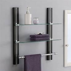 Bathroom Shelves Wall Mounted Wood Towel Rack Adjustable
