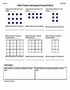 2 oa 4 rectangular array 2nd grade common core math worksheets 4th 9 weeks