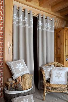Rideau 224 œillets Style Chalet Taupe Grenier Alpin