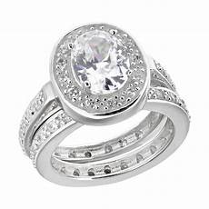 oval cz sterling silver w eternity band engagement wedding bridal ring ebay