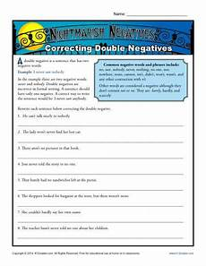 nightmarish negatives correcting double negatives worksheet