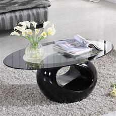 Glass Oval Coffee Table Contemporary Modern Design Living