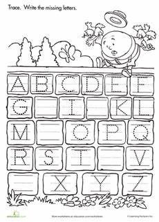 free missing letter worksheets for kindergarten 23486 trace and write the missing letters nursery rhymes preschool preschool worksheets