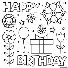 happy birthday black and white flowers coloring pages