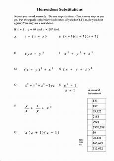 an exercise in substitution maths worksheets pinterest exercise