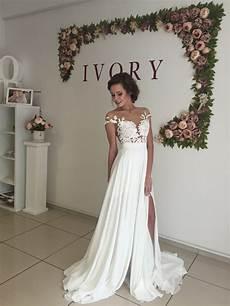 long chiffon wedding dress short sleeves wedding dress cheap wedding dress beach wedding