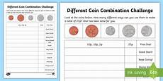 different coin combination challenge worksheet worksheet learning from