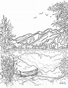 easy nature coloring pages 16364 serenity jasper landscape printable coloring page canoe mountain jasper lake instant