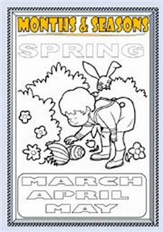months and seasons coloring page part 3 esl