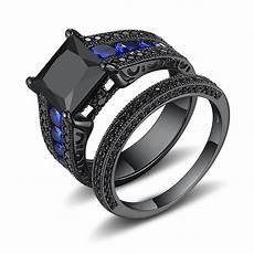 black princess cut black 925 sterling silver engagement
