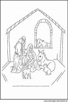 Malvorlagen Weihnachten Heute Ausmalbild Einer Weihnachtskrippe Zum Ausdrucken Und