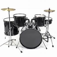 Drum Set 5 Pc Complete Set Cymbals Size Black