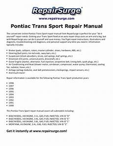 how to download repair manuals 1999 pontiac trans sport interior lighting pontiac trans sport repair manual 1990 1998