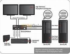 2 monitore miteinander verbinden sv231dpddua 2 port dual view displayport usb kvm switch