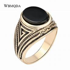 wholesale vintage black red stone antique gold signet ring