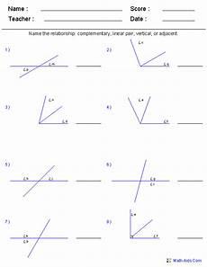 geometry worksheet identify each pair of angles answers 752 geometry worksheets angles worksheets for practice and study