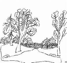 malvorlagen landschaften gratis und original baeume und zaun ausmalbild malvorlage landschaften