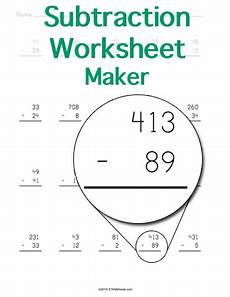 subtraction worksheet maker stem sheets