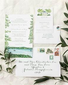 Lakeside Wedding Invitations illustrated lakeside wedding invitations