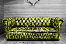 modern chesterfield sofa new leathers yellow turquoise
