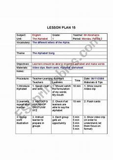 alphabet lesson plan esl worksheet by nostrad