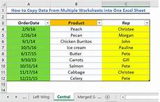 how to copy data from multiple worksheets into one excel