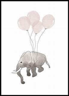 poster mit einem fliegenden elefanten und rosa luftballons