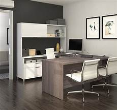 Modern White Bark Gray U Shaped Office Desk With Hutch