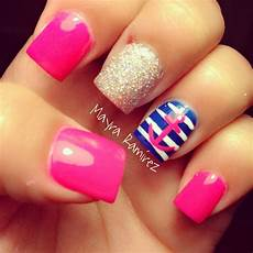 hot pink with navy blue nautica nails simple nails